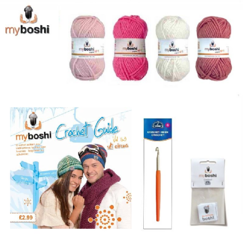 Pink - Makes 3 x Myboshi Ski Circus Beanies & Hats - Intermediate to Advanced Crochet Kit